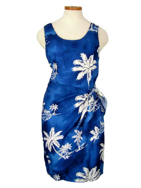 Short Sarong Dress--Palm Tree Blue